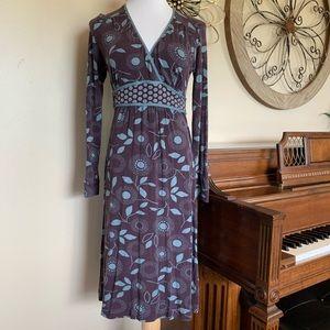 Boden Size US 8 Long Sleeve Leaf Pattern Dress